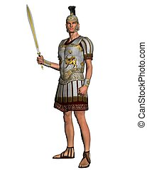 Roman General in armour, carrying a sword, 3d digitally ...