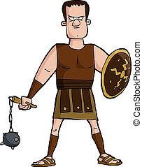Roman gladiator on a white background vector illustration