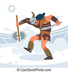 Roman gladiators fighting. A large warrior in a helmet with horns trampling his enemies. Vector isolated illustration. Flat cartoon style