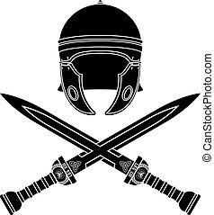 roman helmet and swords. second variant