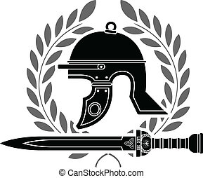 roman helmet. stencil. fourth variant
