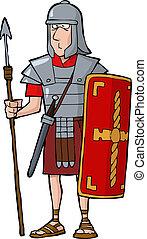 Roman legionary on a white background vector illustration