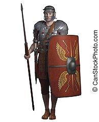 Roman Legionary on Guard - Legionary soldier of the Roman...