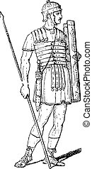 Roman Legionary, vintage engraving - Roman Legionary, ...