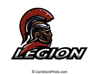 Roman warrior legionnaire logo, symbol. Vector illustration