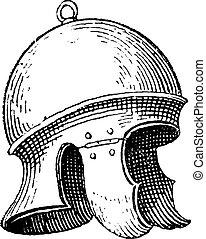 Roman legionnaire's helmet or galea vintage engraving. Old...