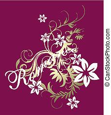roman, mönster, florett, rulla