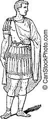Roman Magistrate, vintage engraving - Roman Magistrate,...