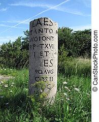 Roman milestone in Holland - Milestone near the river Rhine...