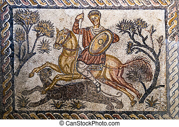 Roman mosaic of a man on a horse hunting