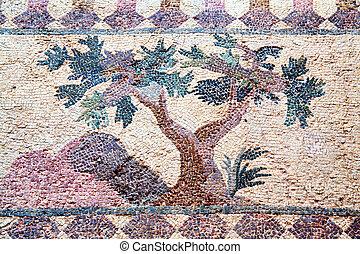 Roman Mosaic, Paphos, Cyprus - Tree from a 4th century Roman...