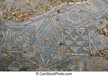 roman mosaic - Ancient floor roman mosaic geometric shapes...