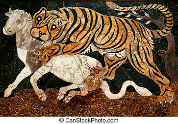 Roman Mosaic Tiger Hunting Capitoline Museum Rome Italy - ...