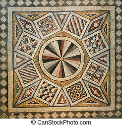 mosaic tile floor - Roman mosaic tile floor with geometric...