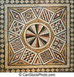 mosaic tile floor - Roman mosaic tile floor with geometric...