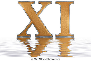 Roman numeral XI, undecim, 11, eleven, reflected on the ...