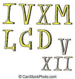 Roman numerals - doodles - Roman numerals - set vector icons...