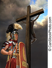 1st century Roman soldier in armour, rank of Optio shot against a stormy sky with Jesus on a cross in the background