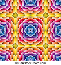 historic pattern with round tiles in bright and vivid colors in vector art and seamless