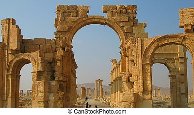 Roman Palmyra arch, now destroyed by ISIS , Syria