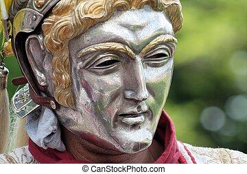 Roman parade mask - Closeup of an ancient roman parade mask