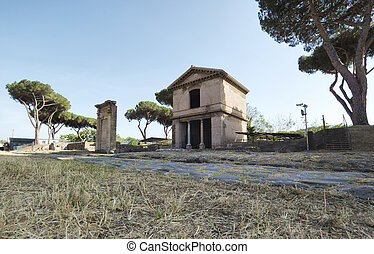 Roman road and tombs in Rome