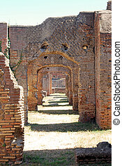 An ancient Roman road arched at an archaeological site