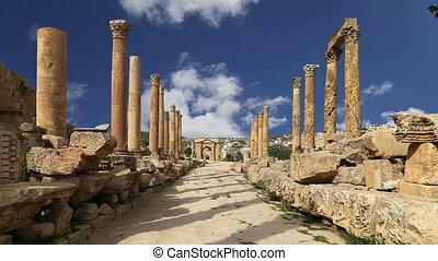 Roman ruins in Jerash, Jordan - Roman ruins in the Jordanian...
