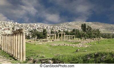 Roman ruins in the Jordanian city of Jerash (Gerasa of...