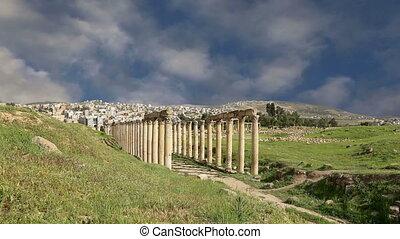 Roman ruins in the Jordanian city of Jerash (Gerasa of Antiquity), capital and largest city of Jerash Governorate, Jordan