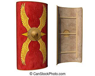 Roman Scutum Shield - Isolated illustration of a Roman...