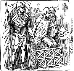 Roman segmented armors and shield old engraving, based on the Trajan's Column sculptures