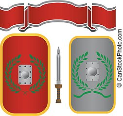 roman shields and sword