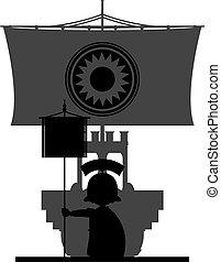 Roman Ship in Silhouette