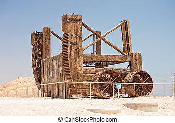 Roman siege engine at Masada in Israel