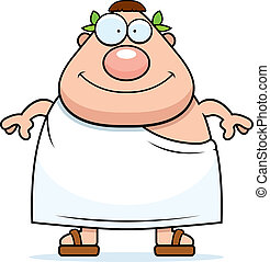 Roman Smiling - A happy cartoon Roman man standing and...