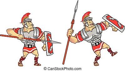 Roman Soldier Animation Sprite - Vector Illustration of...