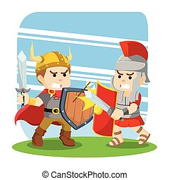 roman soldier fight with viking