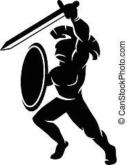 Roman soldier silhouette, vector illustration