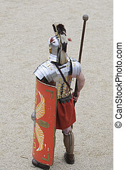Roman Soldier standing guard at a re enactment