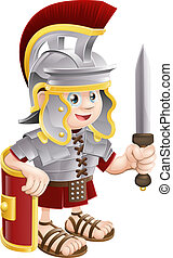 Illustration of a cute happy Roman soldier holding a sword and a shield