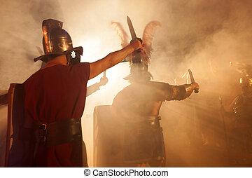 Roman Soldiers Attack - Roman soldiers at attack with swords...
