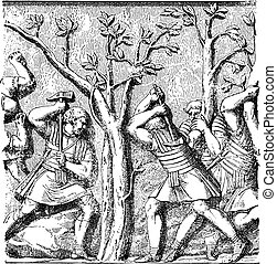 Roman soldiers shooting down a tree, vintage engraving.