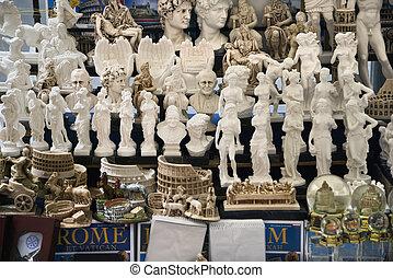 Roman souvenirs in Rome, Italy.