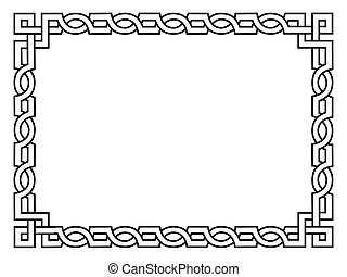 Roman style black ornamental decorative frame pattern isolated