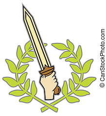 Roman sword and wreath - Roman logo composed from a sword...