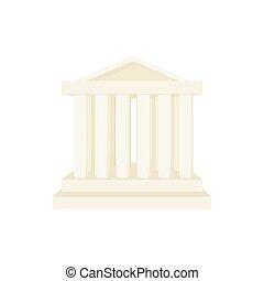 Roman temple icon, cartoon style