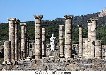 Roman temple ruin in Bolonia, Andalusia, southern Spain