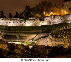 Roman Theater in Trieste, Italy - View of Roman Theater at...