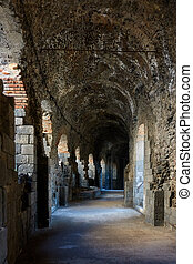 Roman theatre in Catania - Perspective of an inner gallery...